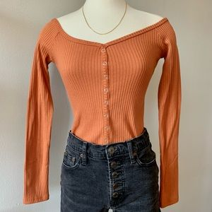F21 ribbed off-the-shoulder crop top terracotta M